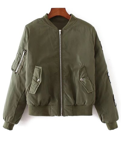 Rhinestoned Patched Jacket - ARMY GREEN S Mobile