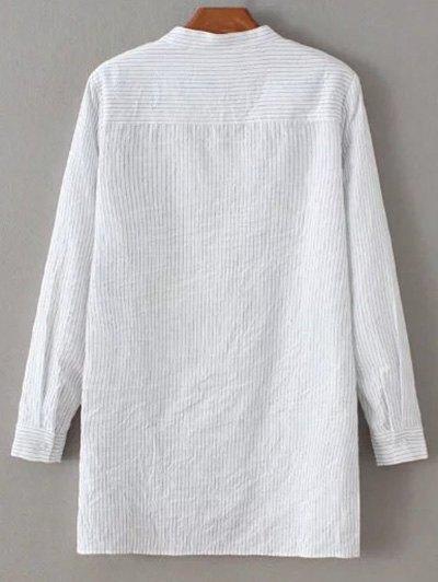 Slit Stripe High-Low Shirt - WHITE M Mobile