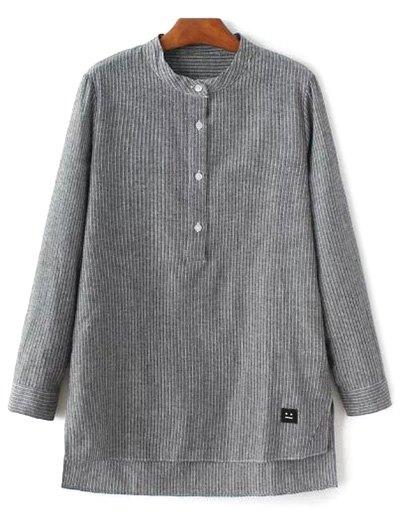 Slit Stripe High-Low Shirt - GRAY L Mobile