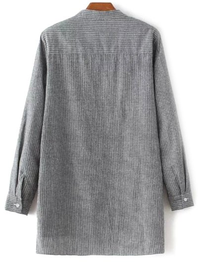 Slit Stripe High-Low Shirt - GRAY M Mobile