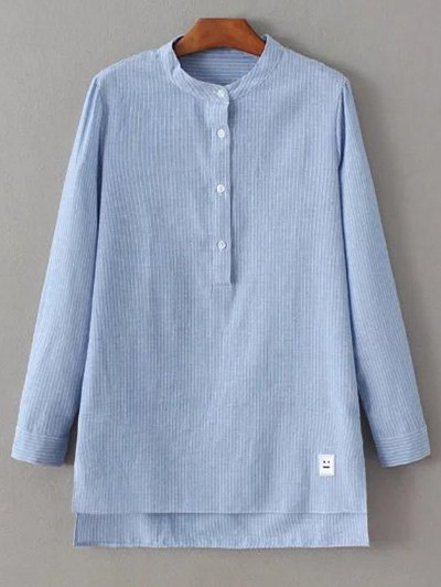 Slit Stripe High-Low Shirt - BLUE L Mobile