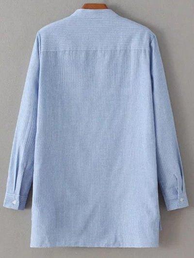 Slit Stripe High-Low Shirt - BLUE S Mobile