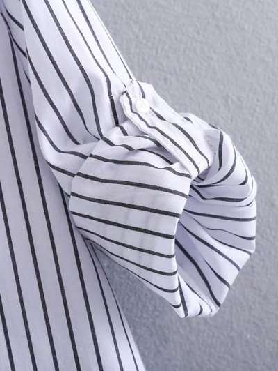 Loose High-Low Shirt - WHITE AND BLACK M Mobile
