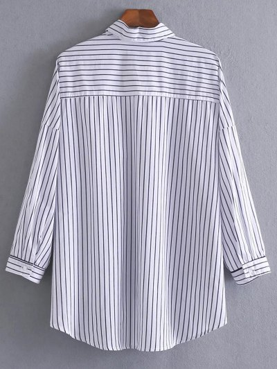 Loose High-Low Shirt - WHITE AND BLACK S Mobile