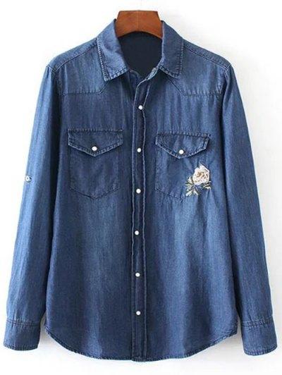 Floral Emboidered Denim Shirt - BLUE M Mobile
