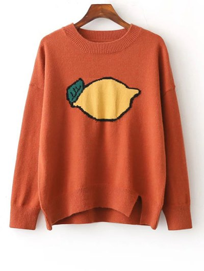 Fruit Jacquard Side Slit Sweater - JACINTH ONE SIZE Mobile