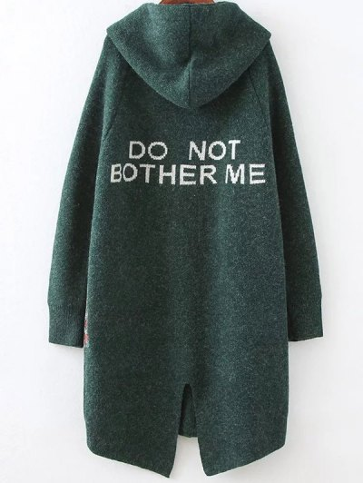 Patch Pocket Hooded Oversized Cardigan - GREEN ONE SIZE Mobile