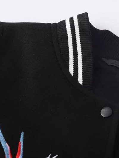 Snap Button Embroidered Baseball Jacket - BLACK L Mobile