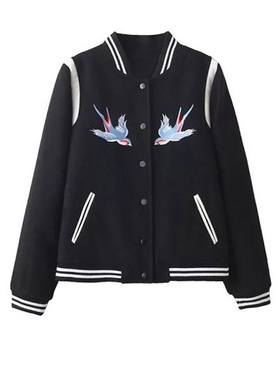Snap Button Embroidered Baseball Jacket - BLACK S Mobile