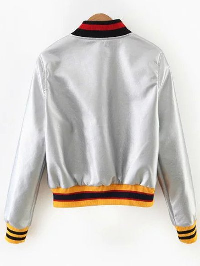 Embroidered Metal Colour PU Leather Jacket - SILVER L Mobile