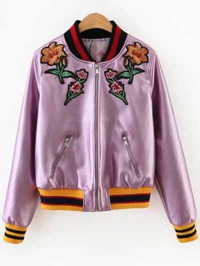 Embroidered Metal Colour PU Leather Jacket - PINK L Mobile