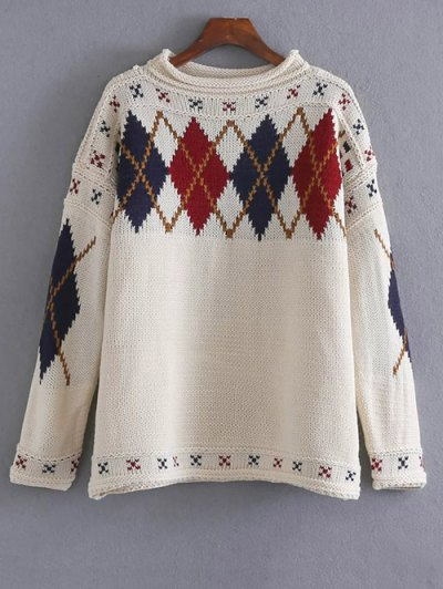 Argyle Jacquard Sweater - OFF-WHITE ONE SIZE Mobile