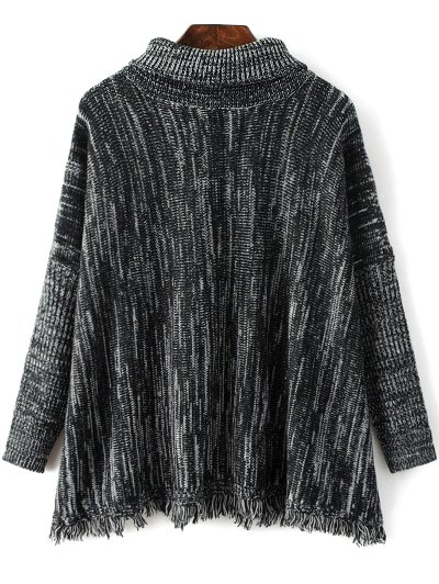 Space Dyed Turtle Neck Tassel Sweater - BLACK GREY ONE SIZE Mobile