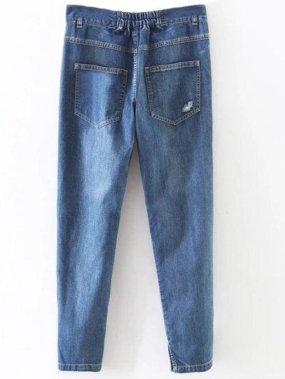 Distressed Pockets Jeans - LIGHT BLUE S Mobile