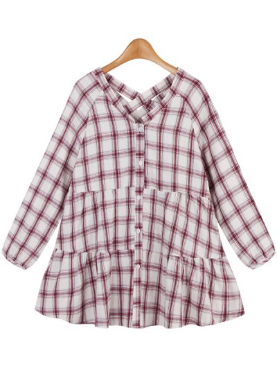 Long Ruffles Checked Blouse - RED ONE SIZE Mobile