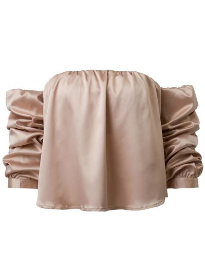 Puff Sleeve Off The Shoulder Blouse - KHAKI M Mobile