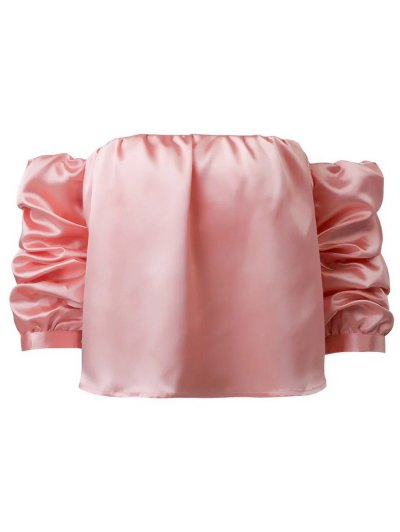 Puff Sleeve Off The Shoulder Blouse - PINK M Mobile