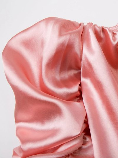 Puff Sleeve Off The Shoulder Blouse - PINK S Mobile