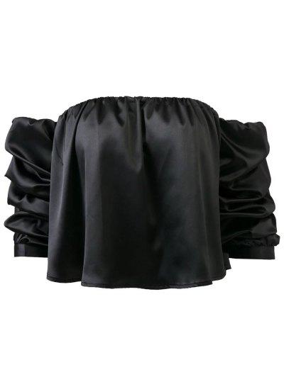Puff Sleeve Off The Shoulder Blouse - BLACK L Mobile
