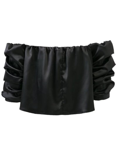 Puff Sleeve Off The Shoulder Blouse - BLACK M Mobile