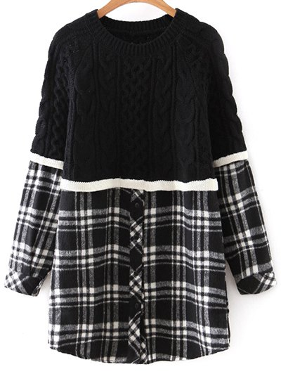 Checked Cable Knit Sweater - WHITE AND BLACK ONE SIZE Mobile