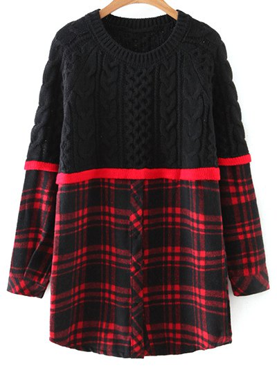 Checked Cable Knit Sweater - RED WITH BLACK ONE SIZE Mobile