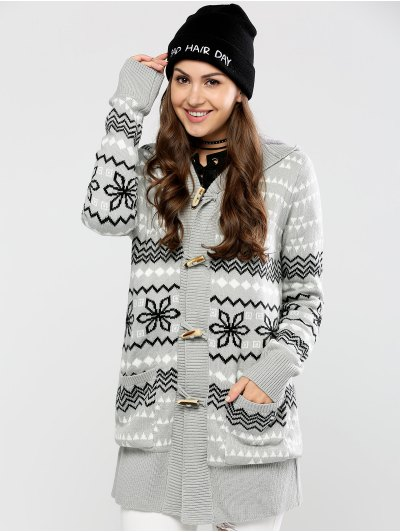 Geometric Horn Button Hooded Cardigan - GRAY L Mobile