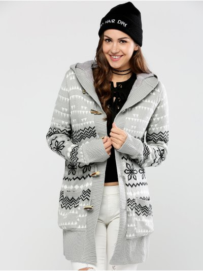 Geometric Horn Button Hooded Cardigan - GRAY M Mobile