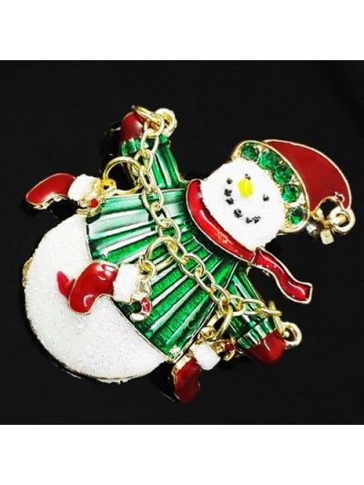 Christmas Rhinestone Snowman Enamel Brooch - GREEN  Mobile