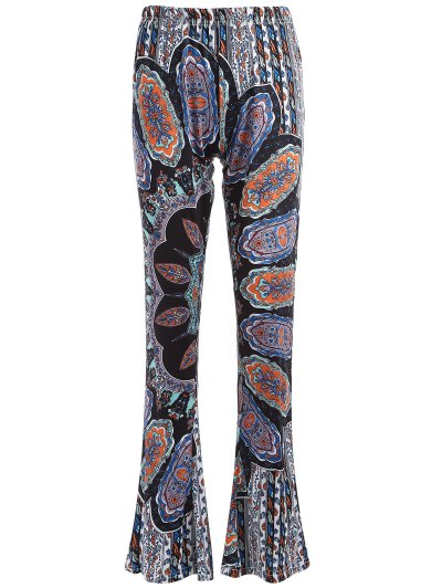 Printed Flare Trousers - CYAN AND GREY M Mobile