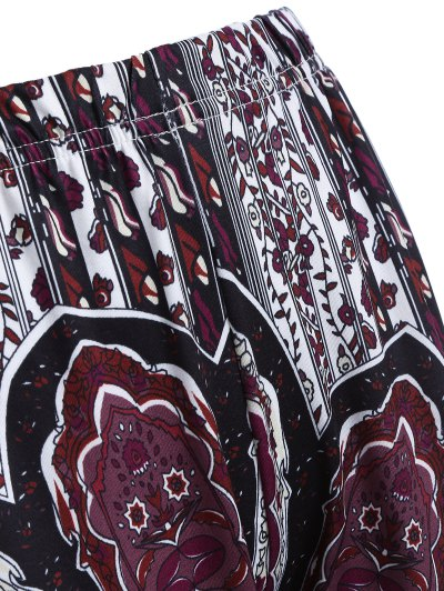 Printed Flare Trousers - BLACK AND PURPLE L Mobile