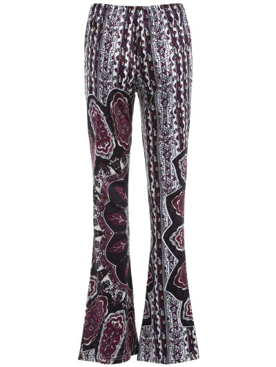 Printed Flare Trousers - BLACK AND PURPLE S Mobile