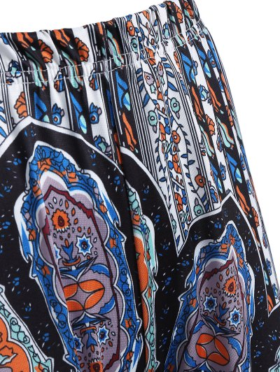 Printed Flare Trousers - CYAN AND GREY L Mobile