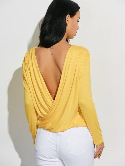 Long Sleeve Draped Back T-Shirt - YELLOW XL Mobile