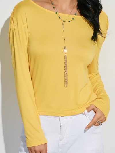 Long Sleeve Draped Back T-Shirt - YELLOW M Mobile