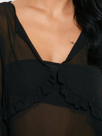 Lantern Sleeve Frilled Sheer Chiffon Top - BLACK XL Mobile