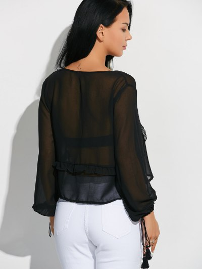 Lantern Sleeve Frilled Sheer Chiffon Top - BLACK S Mobile