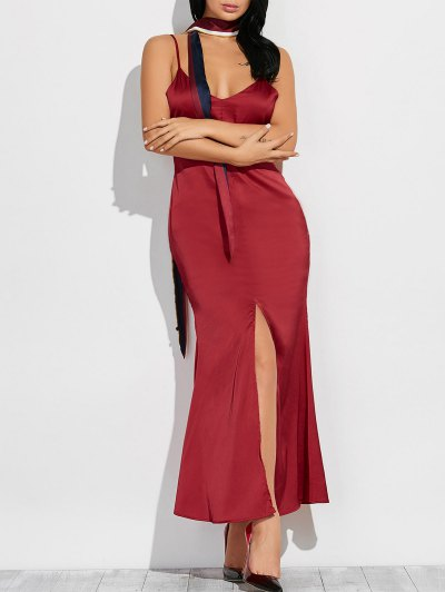 Cami High Furcal Maxi Dress - WINE RED 2XL Mobile