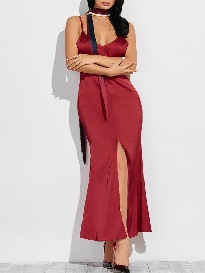 Cami High Furcal Maxi Dress - WINE RED L Mobile
