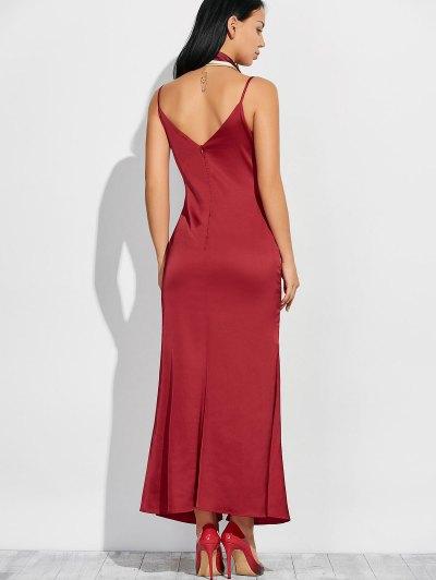 Cami High Furcal Maxi Dress - WINE RED M Mobile