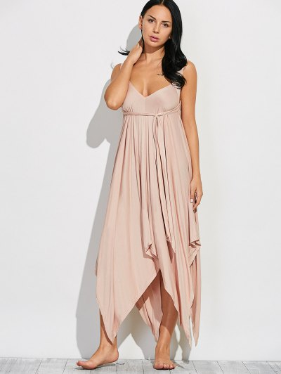 Wide Strap Hankerchief Dress - LIGHT KHAKI XL Mobile