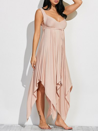 Wide Strap Hankerchief Dress - LIGHT KHAKI L Mobile