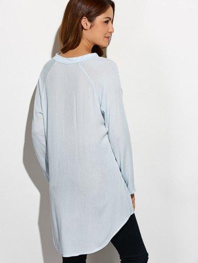 Crinkly Three Quarter Sleeve Shirt Dress - PALE GREEN L Mobile