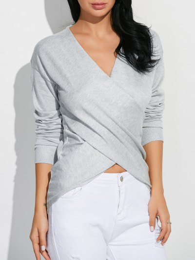 Front Cross Sweater - GRAY ONE SIZE Mobile
