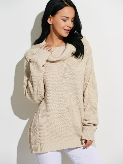 Cowl Neck Chunky Knit Sweater - BEIGE ONE SIZE Mobile