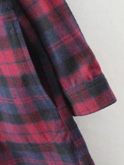 Plaid Shirt Dress With Pockets - COLORMIX S Mobile