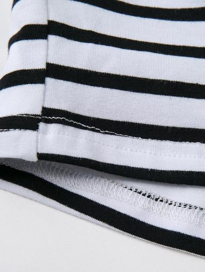 Striped Off Shoulder Front Criss T-Shirt - WHITE M Mobile