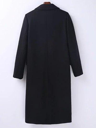 Wool Blend Masculine Coat - BLACK L Mobile
