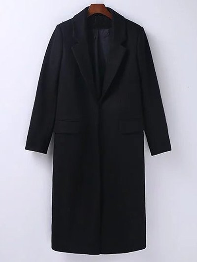 Wool Blend Masculine Coat - BLACK L Mobile