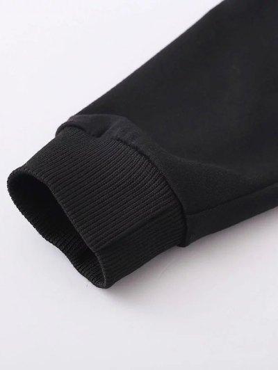Striped Classic Hoodie - BLACK M Mobile